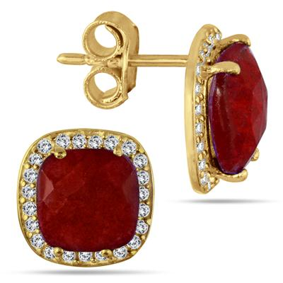4.50 Carat Cushion Cut Rough Indian Ruby and White Topaz Earrings in 18K Gold Plated Sterling Silver