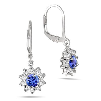 1.25 Carat Tanzanite and White Topaz Flower Earrings in .925 Sterling Silver