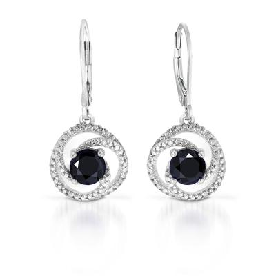 Diamond and Created Sapphire Earrings in .925 Sterling Silver