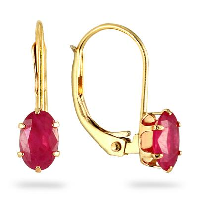 Ruby Earrings in 14kt Yellow Gold