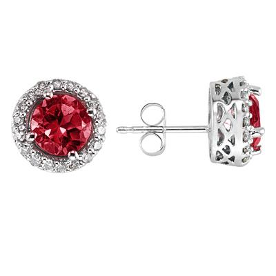 Ruby and Diamond Earrings 14k White Gold