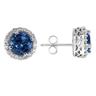 14K White Gold Round Sapphire Earrings with Diamond
