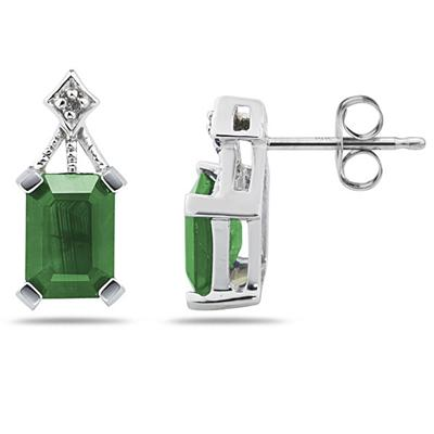 Emerald Cut Emerald   & Diamond Earrings in 14K White Gold