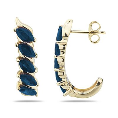 1.10CTW Sapphire  Hoop Earrings in Yellow Gold