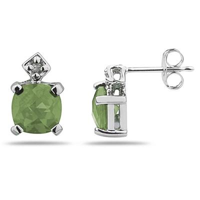 1.20CTW Green  Amethyst & Diamond Earrings in White Gold
