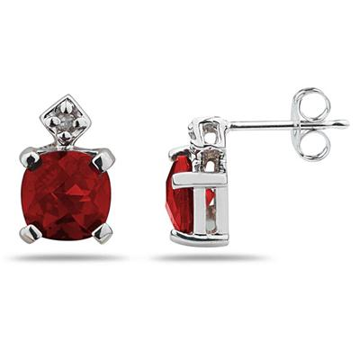 1.20CTW Garnet & Diamond Earrings in White Gold