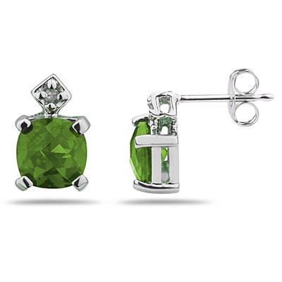1.20CTW  Peridot & Diamond Earrings in White Gold