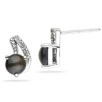 Black Star Sapphire and Diamond Earrings in White Gold