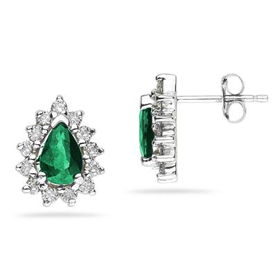6X4mm Pear Shaped Emerald and Diamond Flower Earrings in 14k White Gold