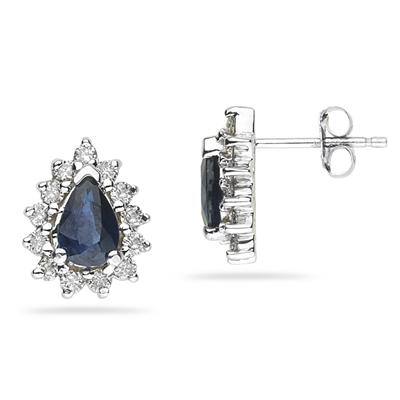 6X4mm Pear Shaped Sapphire and Diamond Flower Earrings in 14k White Gold