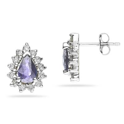 6X4mm Pear Shaped Tanzanite and Diamond Flower Earrings in 14k White Gold