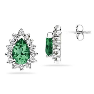 7X5mm Pear Shaped Emerald and Diamond Flower Earrings in 14k White Gold