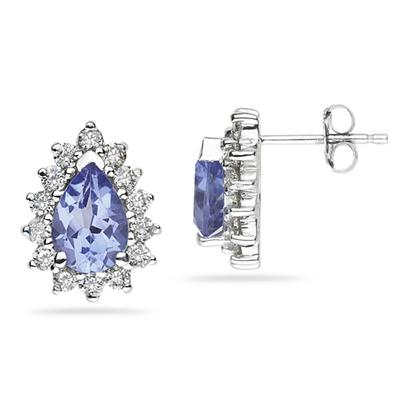 7X5mm Pear Shaped Tanzanite and Diamond Flower Earrings in 14k White Gold