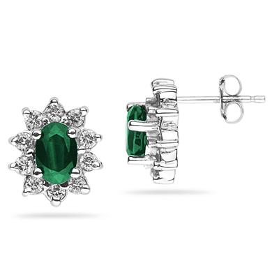 6X4mm Oval Shaped Emerald and Diamond Flower Earrings in 14k White Gold