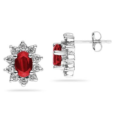 6X4mm Oval Shaped Ruby and Diamond Flower Earrings in 14k White Gold