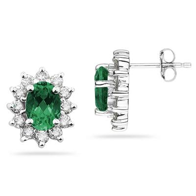 7X5mm Oval Shaped Emerald and Diamond Flower Earrings in 14k White Gold