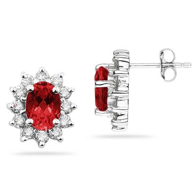 7X5mm Oval Shaped Ruby and Diamond Flower Earrings in 14k White Gold