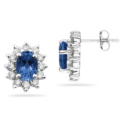 7X5mm Oval Shaped Sapphire and Diamond Flower Earrings in 14k White Gold