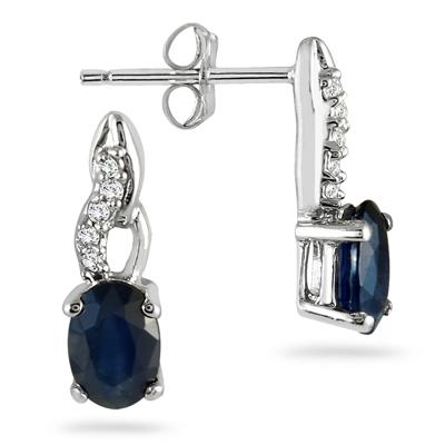 Sapphire and Diamond Earrings in 10k White Gold