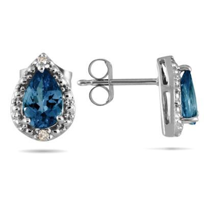 Pear Shape Sapphire and Diamond Flower Earrings