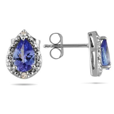Pear Shape Tanzanite and Diamond Flower Earrings