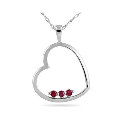 Ruby Heart Pendant in 10K White Gold