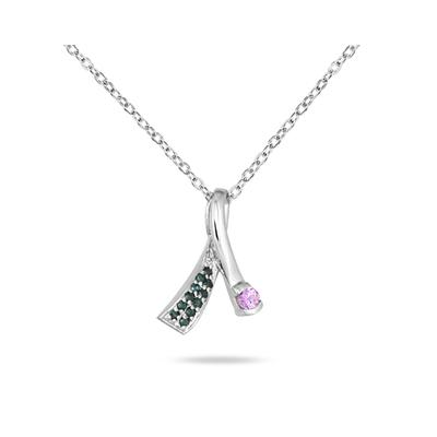 Pink Sapphire and Blue Diamond Pendant in 14K White Gold