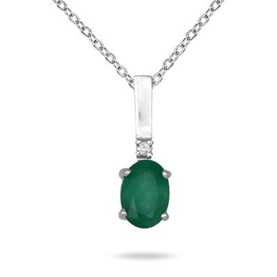 Emerald and Diamond Pendant in 14K White Gold