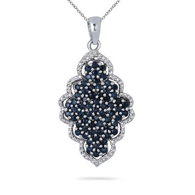 3.15 Carat Sapphire and Diamond Pendant in .925 Sterling Silver