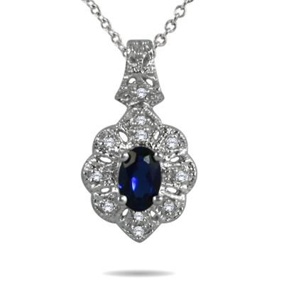 .50 Created Sapphire and Genuine Diamond Pendant in .925 Sterling Silver