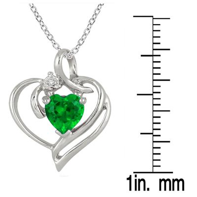 Created Heart Shape Emerald and Genuine Diamond Pendant in .925 Sterling Silver