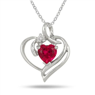 Created Heart Shape Ruby and Genuine Diamond Pendant in .925 Sterling Silver
