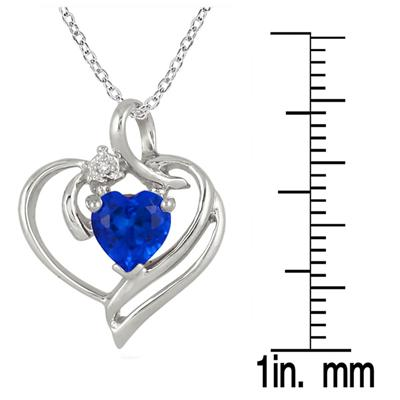 1.00 Carat T.W Created Heart Shape Sapphire and Genuine Diamond Pendant in .925 Sterling Silver
