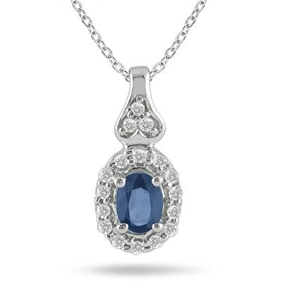 Sapphire and Dimaond Pendant in 10k White gold