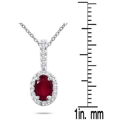 Ruby and Diamond Pendant in 10K White Gold