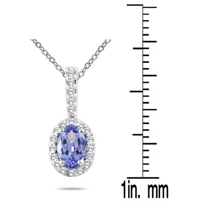 Tanzanite and Diamond Pendant in 10K White Gold