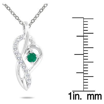 Emerald and Diamond Pendant in 10K White Gold