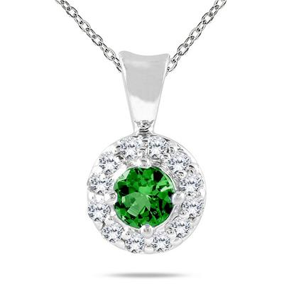 10k White Gold Emerald and Diamond Pendant