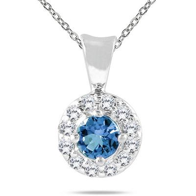 10k White Gold Sapphire and Diamond Pendant