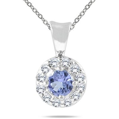 10K White Gold tanzanite and Daimond Pendant
