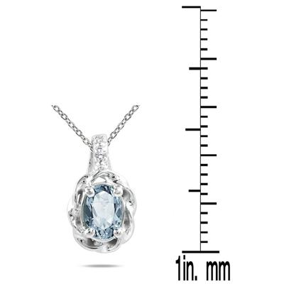Aquamarine and Diamond Pendant in 10K White Gold