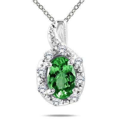 10K White Gold Emerald and Diamond Pendant