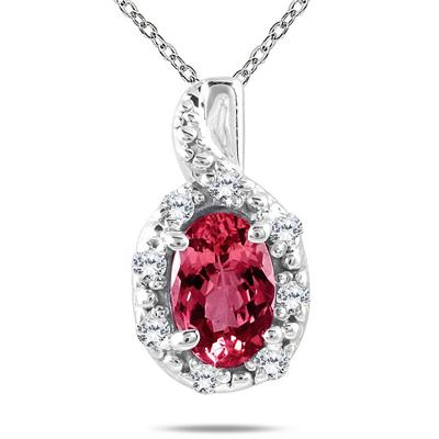 10K White Gold Ruby and Diamond Pendant