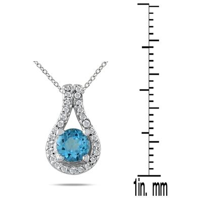 5/8 CTW Blue Topaz and Diamond Pendant in 10K White Gold