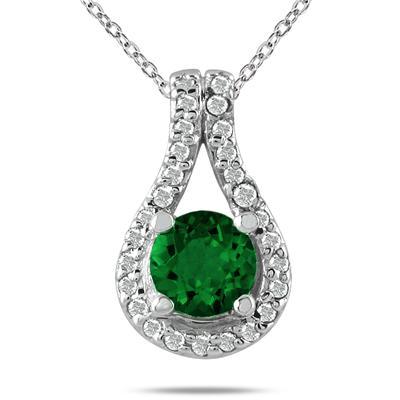 5/8 CTW Emerald and Diamond Pendant in 10K White Gold