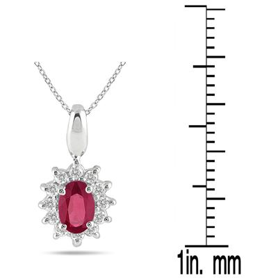 1/5 Carat TW Ruby and Diamond Pendant in 10K White Gold