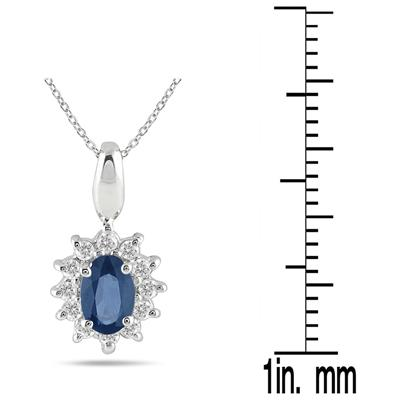 1/5 Carat TW Sapphire and Diamond Flower Pendant in 10K White Gold