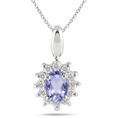 1/5 Carat TW Tanzanite and Diamond Pendant in 10K White Gold