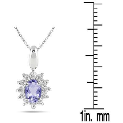 1/5 Carat TW Tanzanite and Diamond Pendant in 10K White Gold