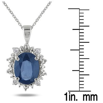 2.70 Carat Sapphire & Diamond Pendant in .925 Sterling Silver